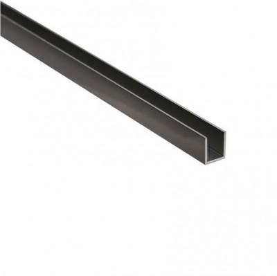 Черни алуминиеви профили  П-образен профил за 8 и 10 мм стъкло, 2.5 метра, черен мат Код: 15.22.510-4 ;15.22.506-4