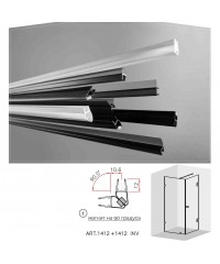 Черни двукомпонентни магнити на 90 градуса за 6 и 8 мм стъкло за душ кабини Комплект магнити на: 2.2 метра 1412+1412 INV