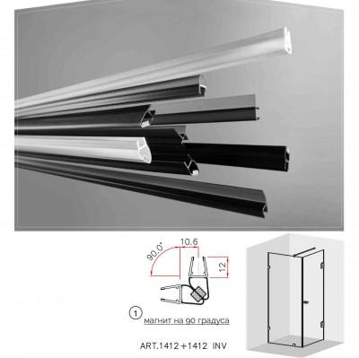 Черни двукомпонентни  магнити на 90 градуса за 6 и 8 мм стъкло за душ кабини Комплект магнити на: 2.5 метра 1412+1412 INV