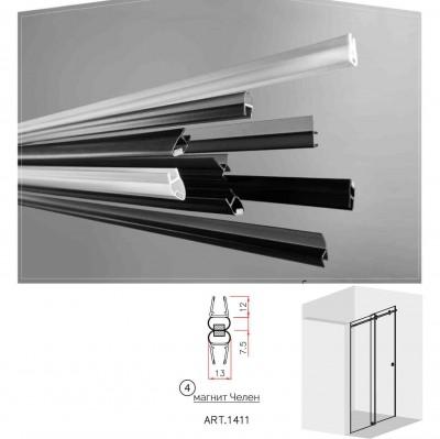 Черни двукомпонентни  магнити - челен   за 6 и 8 мм стъкло за душ кабини Комплект магнити на: 2.5 метра 1411