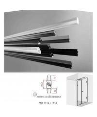 Черни двукомпонентни  магнити на 180 градуса за 6 и 8 мм стъкло за душ кабини Комплект магнити на: 2.2 метра 1412+1412