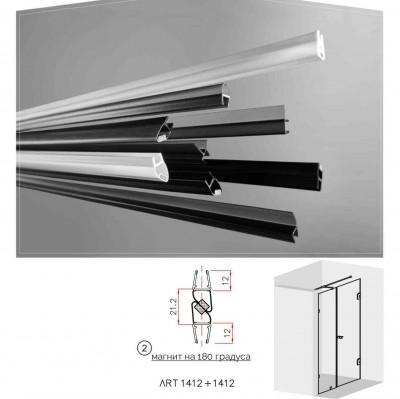 Черни двукомпонентни  магнити на 180 градуса  за 6 и 8 мм стъкло за душ кабини Комплект магнити на: 2.5 метра 1412+1412