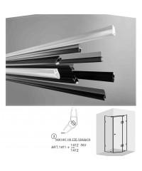 Черни двукомпонентни  магнити на 135 градуса за 6 и 8 мм стъкло за душ кабини Комплект магнити на: 2.2 метра 1411+1412