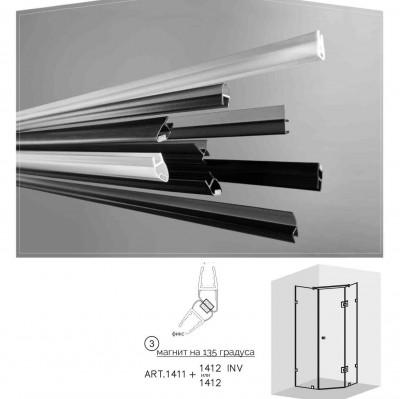 Черни двукомпонентни  магнити на 135 градуса  за 6 и 8 мм стъкло за душ кабини Комплект магнити на: 2.5 метра 1411+1412