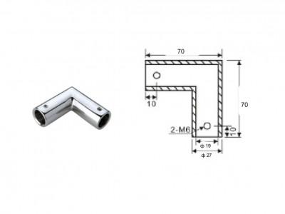 Конектор тръба-тръба, 90 градуса, масивен месинг, покритие хром, за тръба ф 19 мм AP S109