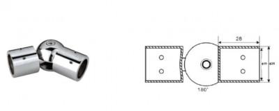 Конектор тръба-тръба, раздвижен, масивен месинг, покритие хром, за стъкло от 8 до 10 мм дебелина AP S003