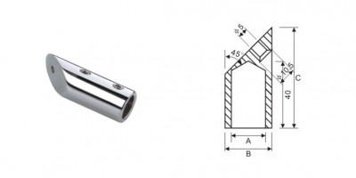 Конектор стена-тръба 45 градуса, масивен месинг, покритие хром, за тръба ф19 мм AP S107