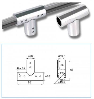 Конектор тръба-тръба, троен, масивен месинг, покритие хром, за тръба ф19 мм AP S111