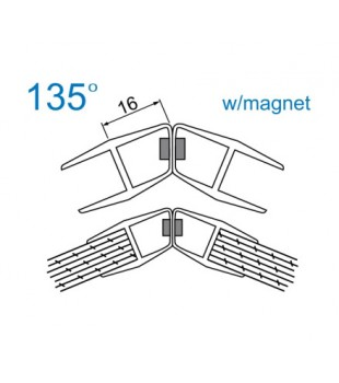 Уплътнение стъкло/стъкло 10mm.135 магнит 4444-AP-008C-10